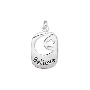 charm, sterling silver, 19x13mm single-sided rectangle with cutout moon and star with believe. sold individually.