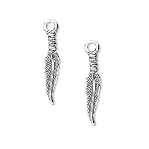 charm, sterling silver, 20x4mm feather. sold per pkg of 2.