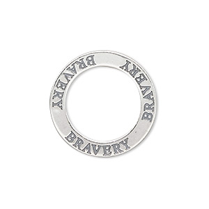 charm, sterling silver, 22mm double-sided affirmation circle bravery. sold individually.