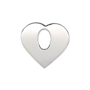 charm, sterling silver, 23.5x22.5mm single-sided smooth flat heart with 9x6mm hole, 23-25 gauge. sold individually.