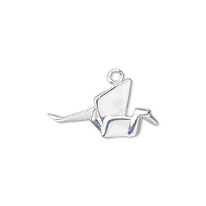 charm, sterling silver, 24x13mm 3d origami bird. sold individually.
