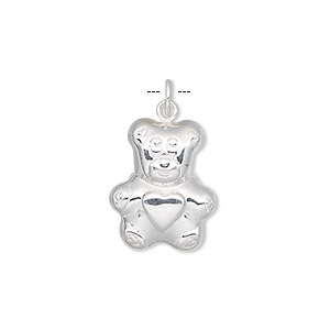 charm, sterling silver, 24x14x5mm teddy bear. sold individually.
