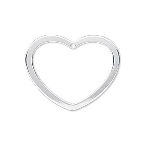 charm, sterling silver, 28x23mm open heart. sold individually.