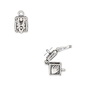 charm, sterling silver, 8x7mm hinged fancy rectangle prayer box with cross and hand design with safety catch. sold per pkg of 2.