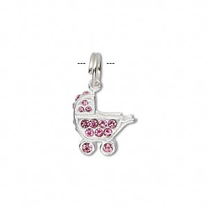 charm, sterling silver and crystal, pink, 17x13mm baby buggy. sold individually.