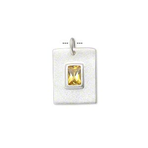 charm, sterling silver and cubic zirconia, citrine yellow, 17x13mm single-sided matte flat rectangle with 7x5mm faceted rectangle. sold individually.