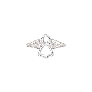 charm, sterling silver and cubic zirconia, clear, 19x11mm single-sided open angel. sold individually.