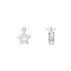 charm, sterling silver and cubic zirconia, clear, 8mm single-sided open star. sold individually.