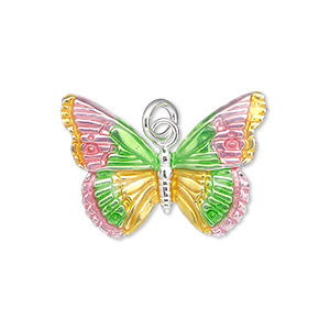 charm, sterling silver and enamel, pink / yellow / green, 27x19mm single-sided butterfly. sold individually.