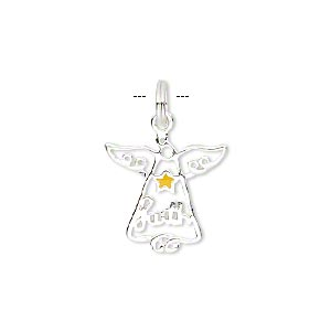 charm, sterling silver and enamel, yellow, 16x16mm single-sided open angel with faith and star. sold individually.