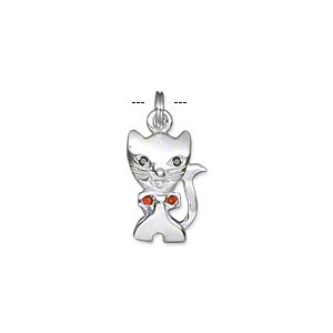 charm, sterling silver and glass rhinestone, red and black, 15x10mm single-sided cat with bowtie. sold individually.