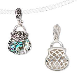 charm, sterling silver and marcasite with abalone (natural), 25x14mm purse. sold individually.