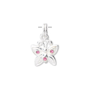 charm, sterling silver and pink crystal, 14x12mm butterfly. sold individually.