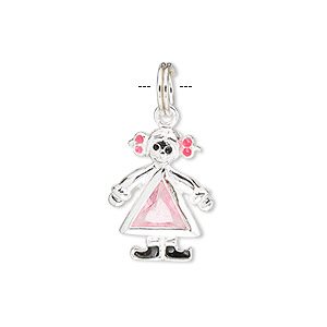 charm, sterling silver and pink glass, 26x13mm girl. sold individually.