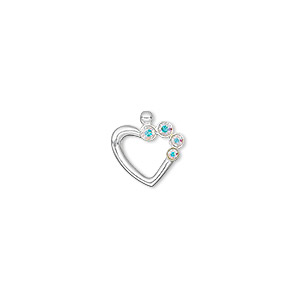 charm, sterling silver and swarovski crystals, crystal ab, 11x11mm open heart. sold individually.