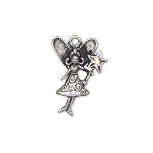 charm, swarovski crystal and antiqued pewter (tin-based alloy), crystal ab, 23x17mm single-sided fairy with star wand. sold individually.