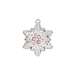 charm, swarovski crystals / rhodium-plated brass / epoxy, crystal clear / vintage rose / white, 20x17mm pave edelweiss pendant (67442). sold per pkg of 6.
