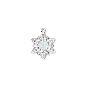 charm, swarovski crystals / rhodium-plated brass / epoxy, crystal passions, crystal clear / white opal / white, 14x12mm pave edelweiss pendant (67442). sold individually.