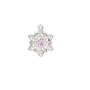 charm, swarovski crystals / rhodium-plated brass / epoxy, crystal passions, crystal clear / vintage rose / white, 14x12mm pave edelweiss pendant (67442). sold individually.