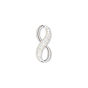 charm, swarovski crystals / rhodium-plated brass / epoxy, crystal passions, white opal / crystal moonlight / white, 20x8.5mm pave infinity pendant (67402). sold individually.