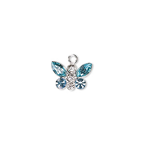 charm, swarovski crystals and sterling silver, crystal clear and aquamarine, 12x8mm butterfly. sold individually.