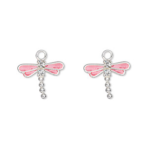 charm, swarovski crystals and sterling silver, crystal clear with pink enamel, 13x11mm dragonfly. sold per pkg of 2.