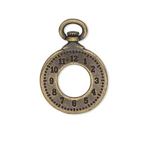 charm, tierracast, antique brass-plated pewter (tin-based alloy), 29x20.5mm double-sided pocket watch with 9.5mm hole. sold individually.