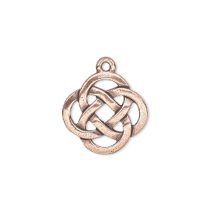charm, tierracast, antique copper-plated pewter (tin-based alloy), 18mm double-sided celtic knot. sold individually.