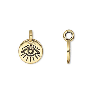 charm, tierracast, antique gold-plated pewter (tin-based alloy), 12mm single-sided round with wards off the evil eye design. sold individually.