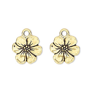 charm, tierracast, antique gold-plated pewter (tin-based alloy), 14x14mm double-sided flower. sold individually.