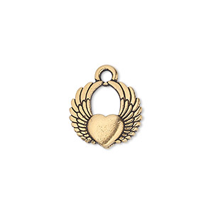charm, tierracast, antique gold-plated pewter (tin-based alloy), 15x14mm double-sided winged heart. sold per pkg of 2.