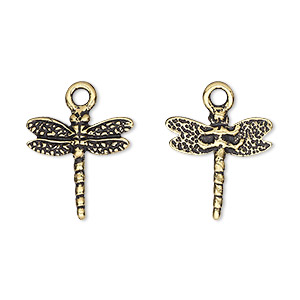 charm, tierracast, antique gold-plated pewter (tin-based alloy), 16mm two-sided dragonfly. sold individually.