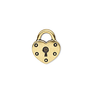 charm, tierracast, antique gold-plated pewter (tin-based alloy), 17x14mm double-sided heart lock. sold per pkg of 2.