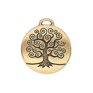 charm, tierracast, antique gold-plated pewter (tin-based alloy), 23.5mm double-sided flat round with tree of life. sold individually.