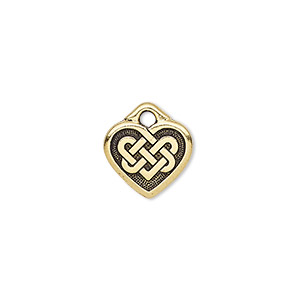 charm, tierracast, antique gold-plated pewter (zinc-based alloy), 13x12mm double-sided heart with celtic knot. sold per pkg of 2.