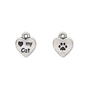 charm, tierracast, antique silver-plated pewter (tin-based alloy), 10x10mm double-sided heart with love my cat and paw print. sold per pkg of 2.