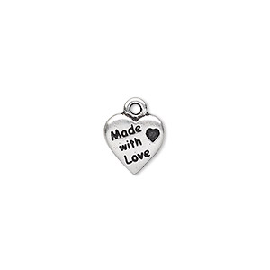 charm, tierracast, antique silver-plated pewter (tin-based alloy), 10x10mm double-sided heart with made with love. sold per pkg of 2.
