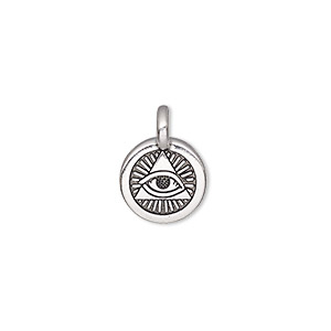 charm, tierracast, antique silver-plated pewter (tin-based alloy), 12mm single-sided round with eye of providence. sold individually.