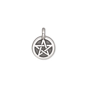 charm, tierracast, antique silver-plated pewter (tin-based alloy), 12mm single-sided round with pentagram. sold individually.