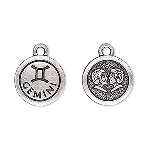 charm, tierracast, antique silver-plated pewter (tin-based alloy), 15mm two-sided flat round with gemini zodiac sign and symbol. sold individually.