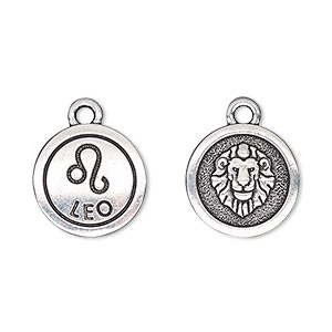 charm, tierracast, antique silver-plated pewter (tin-based alloy), 15mm two-sided flat round with leo zodiac sign and symbol. sold individually.