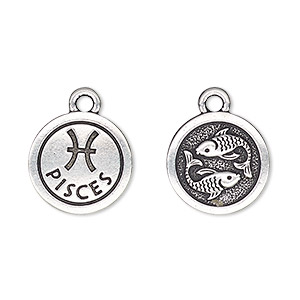 charm, tierracast, antique silver-plated pewter (tin-based alloy), 15mm two-sided flat round with pisces zodiac sign and symbol. sold individually.
