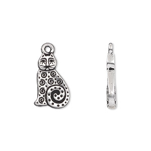 charm, tierracast, antique silver-plated pewter (tin-based alloy), 16x10mm double-sided cat with swirls and dots. sold per pkg of 2.