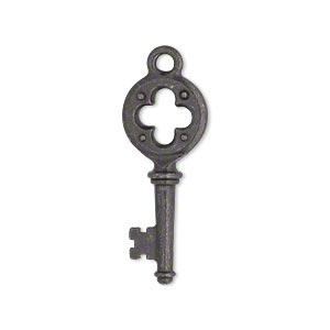 charm, tierracast, black-plated pewter (tin-based alloy), 29x11.5mm double-sided quatrefoil key. sold individually.