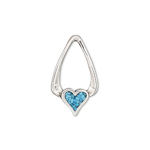 charm, turquoise (dyed / stabilized) and antiqued sterling silver, blue,  24x14mm single-sided heart. sold individually.