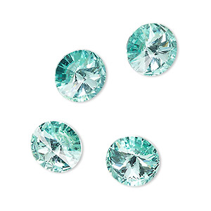 chaton, celestial crystal rhinestone, aquamarine, foil back, 12mm faceted rivoli. sold per pkg of 4.
