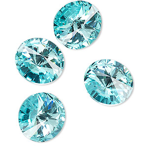 chaton, celestial crystal rhinestone, aquamarine, foil back, 16mm faceted rivoli. sold per pkg of 4.