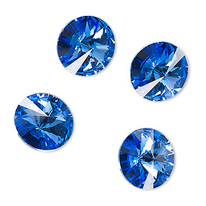 chaton, celestial crystal rhinestone, sapphire blue, foil back, 14mm faceted rivoli. sold per pkg of 4.