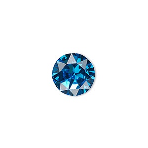 chaton, celestial crystal rhinestone, turquoise blue, foil back, 12.97-13.22mm faceted round, ss55. sold per pkg of 2.