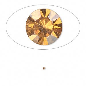 chaton, glass rhinestone, amber yellow, foil back, 1.3-1.35mm faceted round, pp6. sold per pkg of 72.